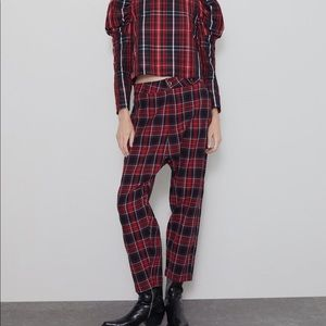 Zara Slouchy Plaid Pants